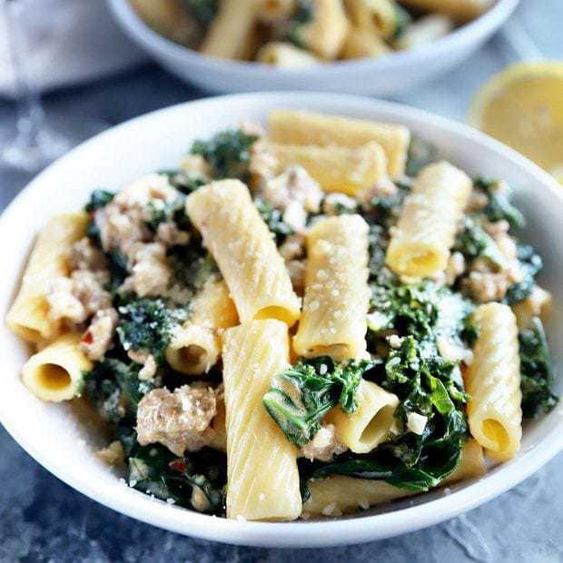 Creamy kale sausage rigatoni pasta thumbnail photo