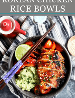 Pinterest Graphic for Korean Chicken Rice Bowls