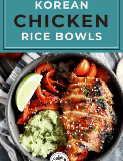 Korean Spicy Chicken Rice Bowls Pinterest Image