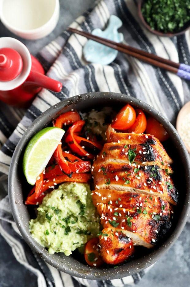 Korean chicken in a rice bowl photo