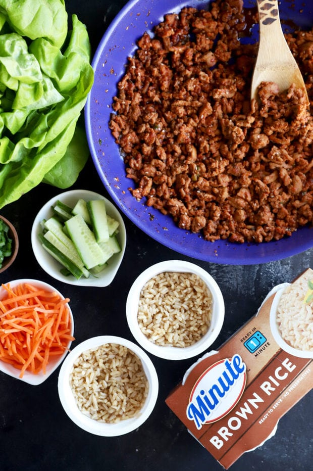 Overhead photo of ingredients for the lettuce wraps