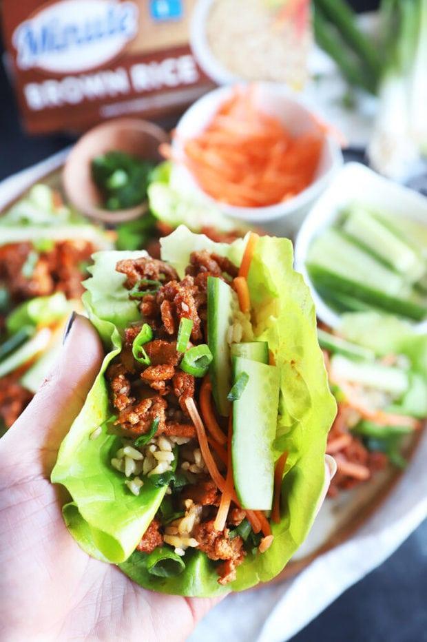 Turkey lettuce wrap in hand image
