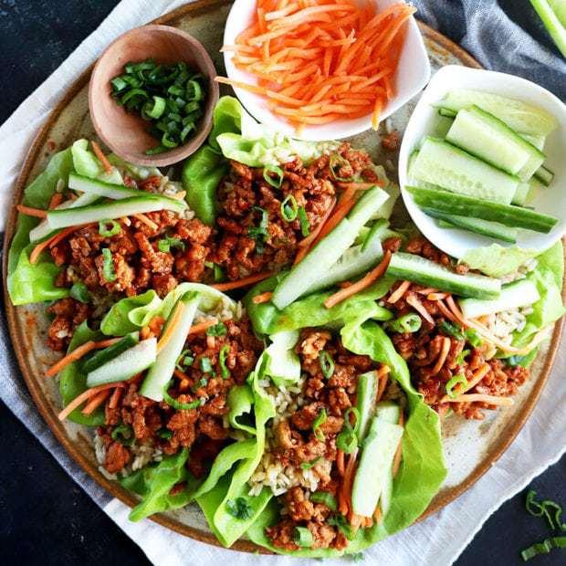 Korean Ground Turkey and Rice Lettuce Wraps