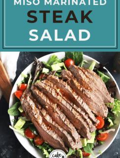 Steak salad with avocado Pinterest image