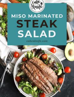 Pinterest graphic for miso marinated steak salad