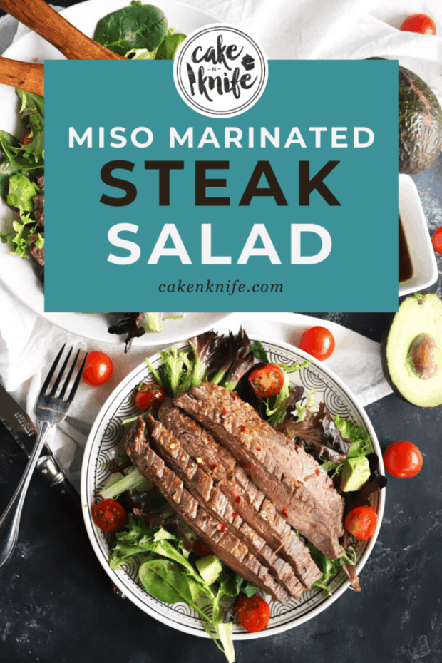 Pinterest graphic for miso marinated steak salad