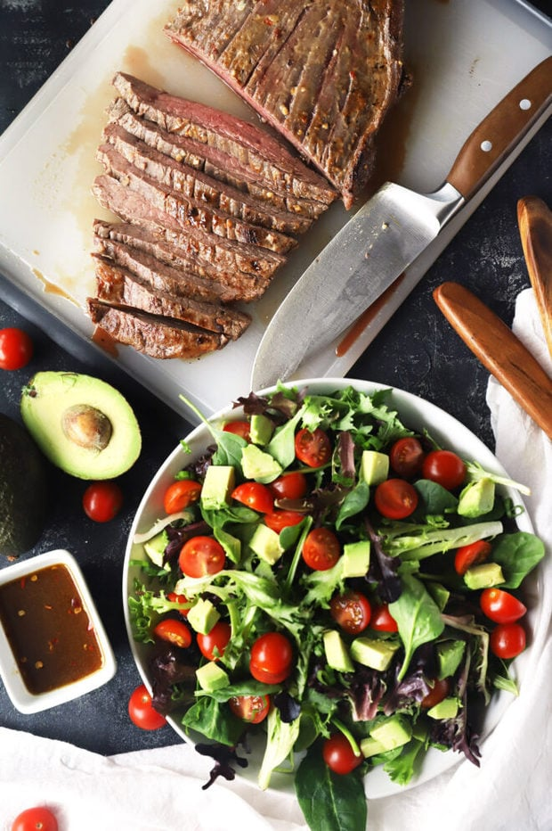 Ingredients for a miso marinated steak salad photo