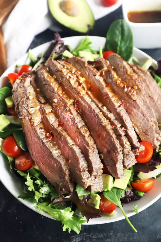 Big steak salad in a bowl photo