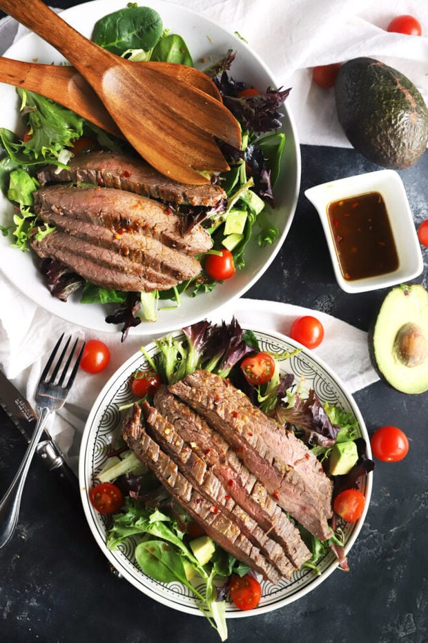 Overhead photo of miso steak salad with avocado