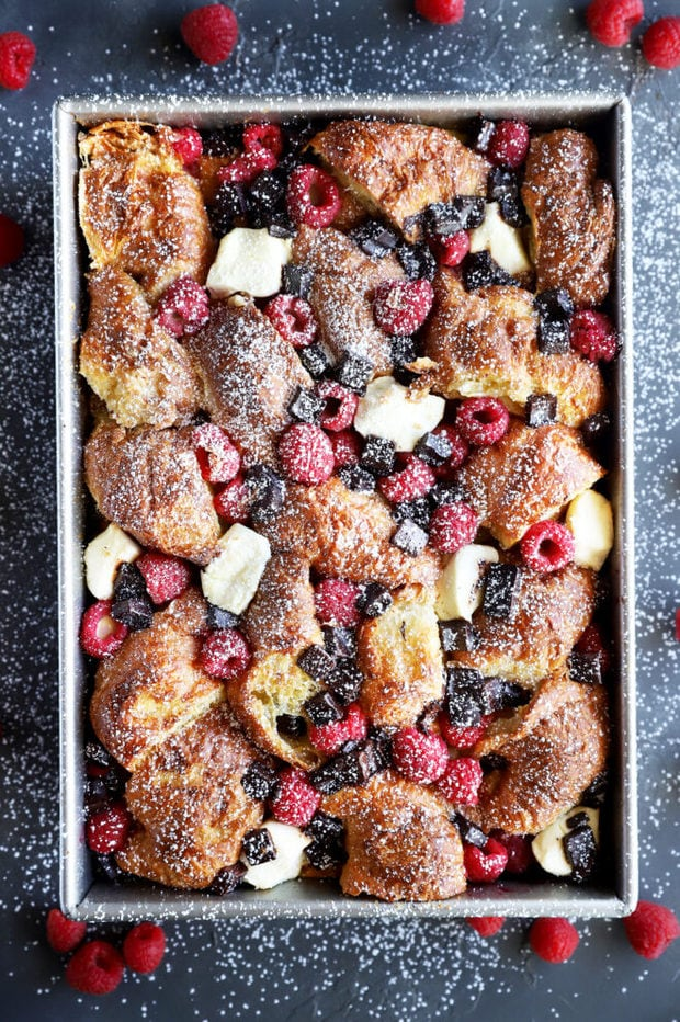 Overhead picture of raspberry chocolate croissant French toast bake