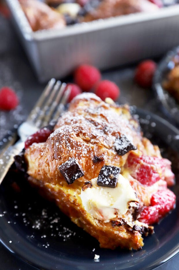 Slice of French toast bake on a plate photo