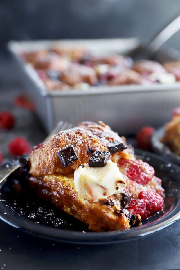 Raspberry chocolate croissant French toast bake picture