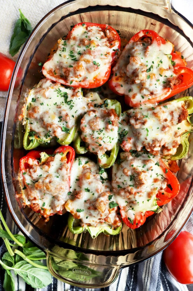 Overhead photo of stuffed peppers recipe