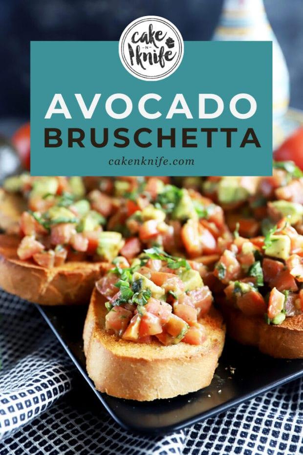Avocado bruschetta Pinterest graphic
