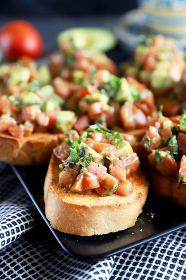 Side photo of bruschetta