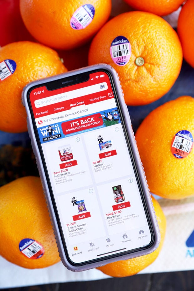 Safeway mobile app and oranges image