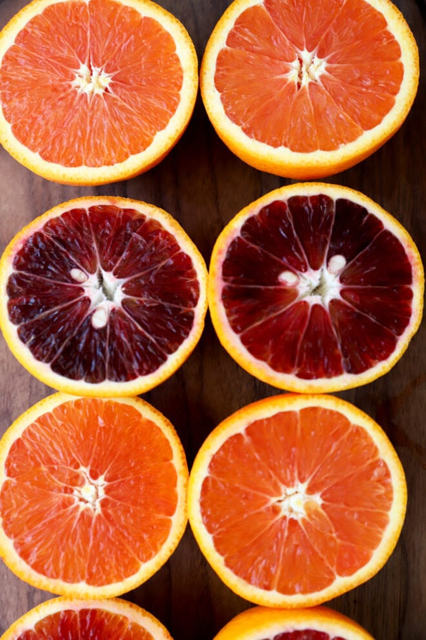 Blood orange and cara cara orange halves picture