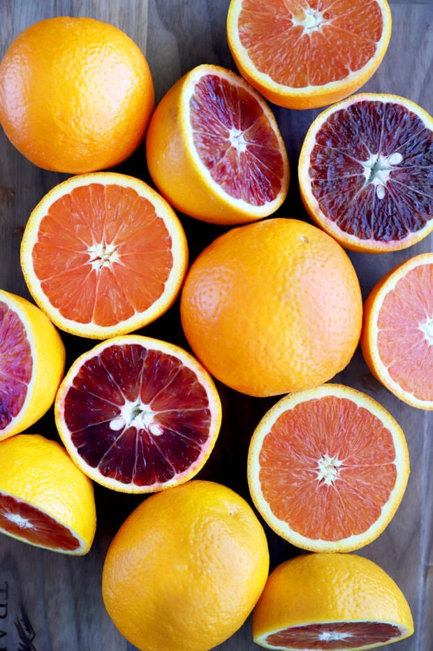 Overhead photo blood and cara cara oranges