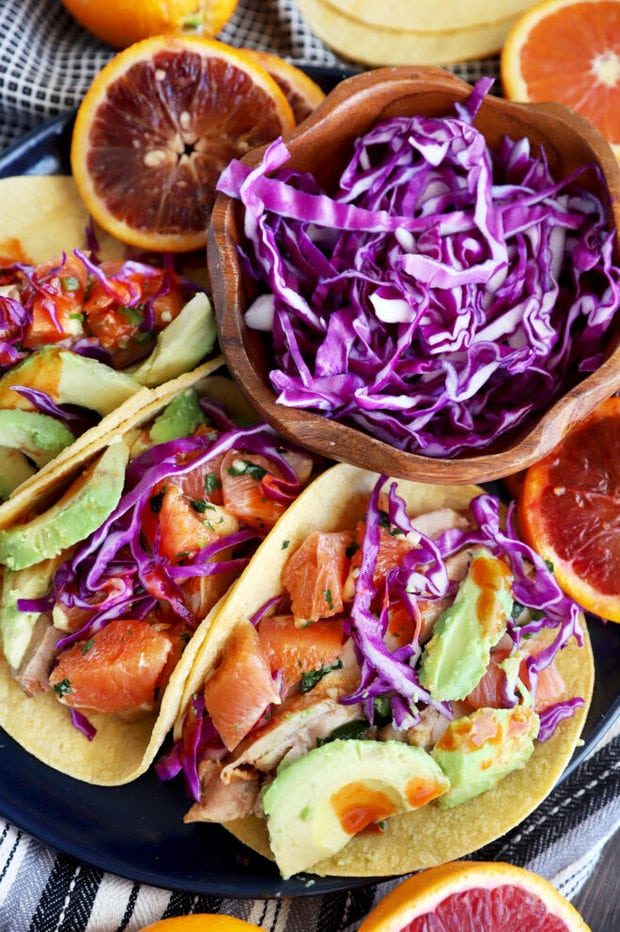 Plate of honey ginger chicken tacos image