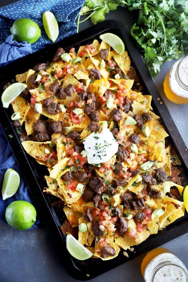 Overhead photo carne asada nachos