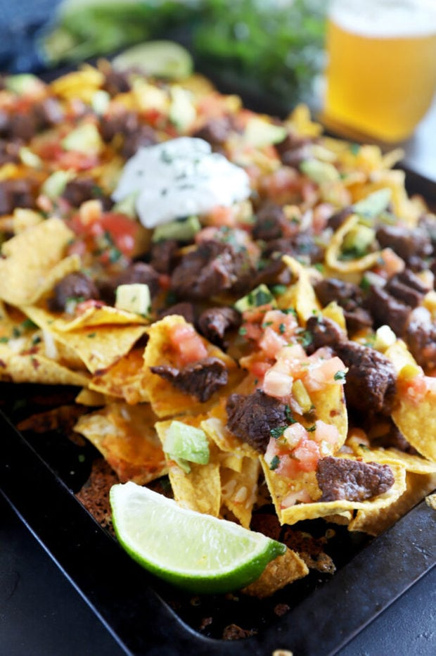 Side photo of steak nachos