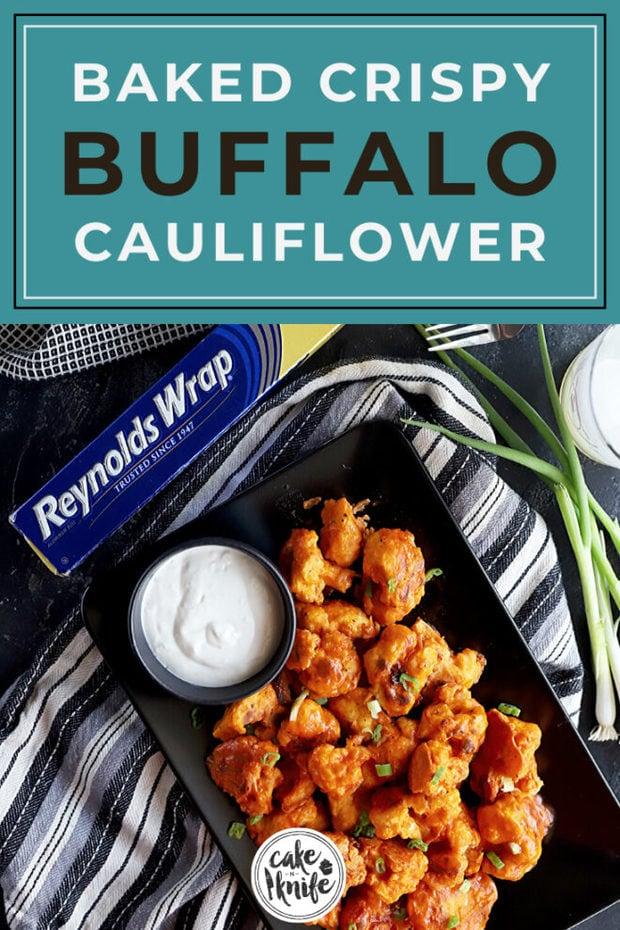 Pinterest image for baked crispy cauliflower
