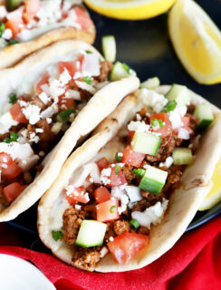 Greek pitas with ground beef photo