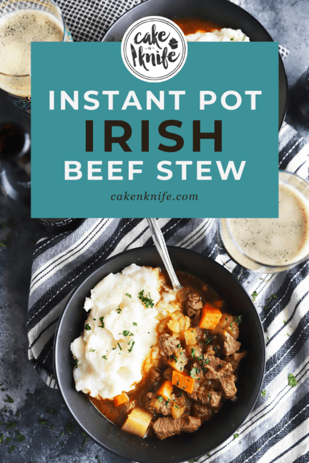 Pinterest image Instant Pot Irish Beef Stew