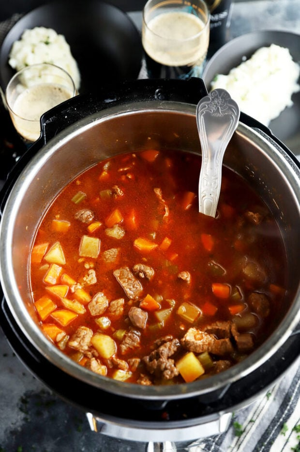 Overhead photo of stew in pressure cooker