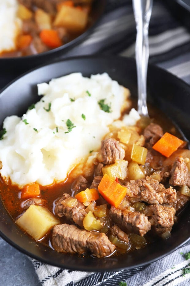 Bowl of Instant Pot Irish beef stew