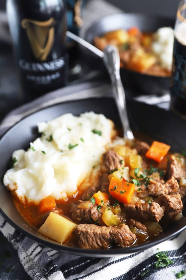 Stew in a bowl with potatoes image