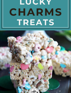 Pinterest image for lucky charms cereal treats