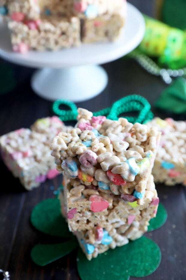 Stacked Lucky Charms cereal treats picture