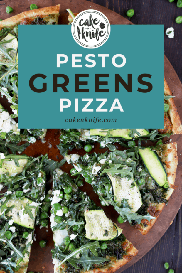 Green pizza recipe Pinterest image