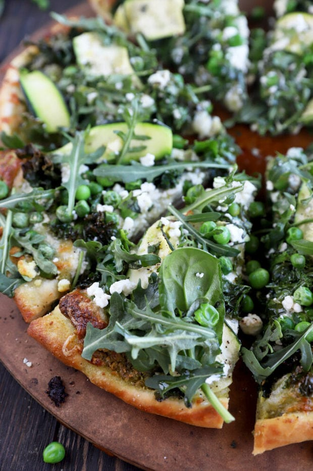 Pizza with kale and zucchini image