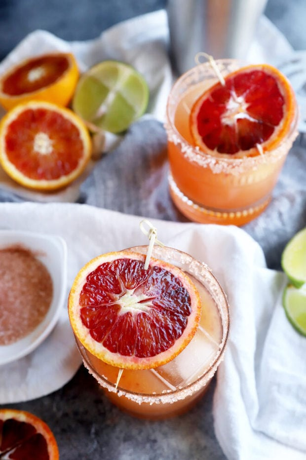 Blood orange margaritas in glasses photo