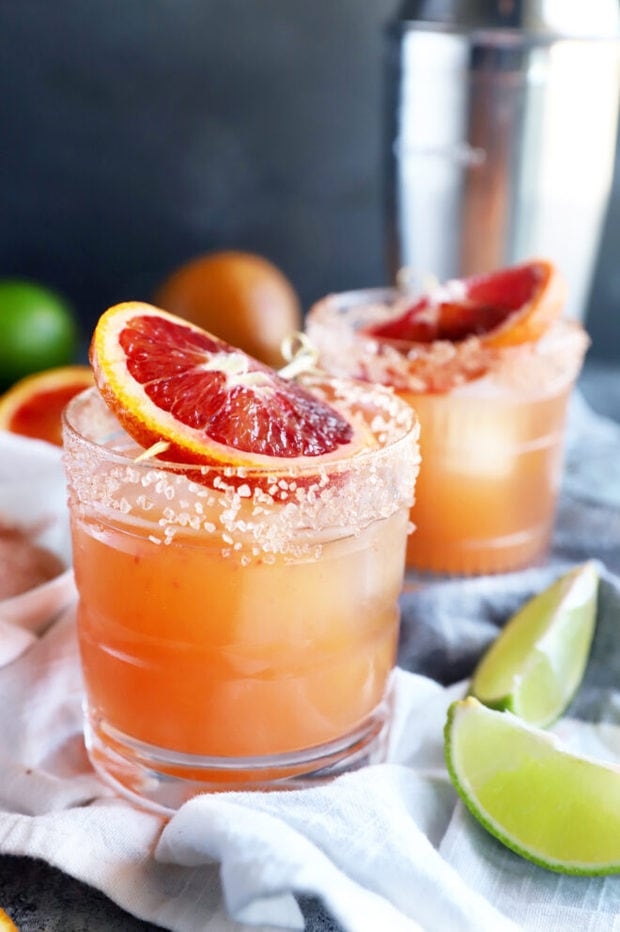 Side photo of blood orange margarita