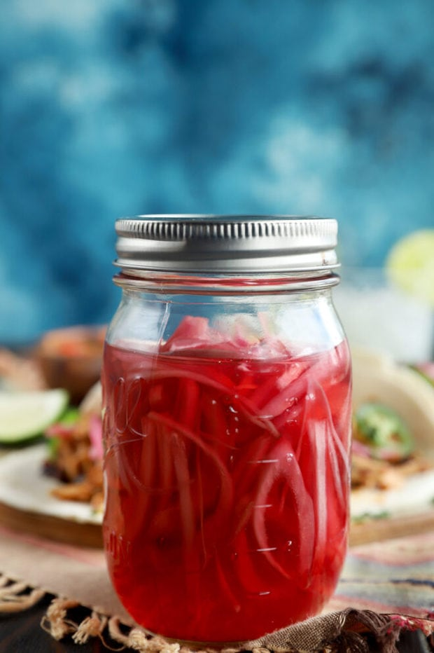 Jar of quick pickled red onions canning