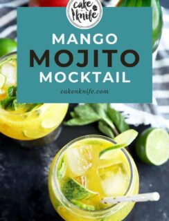 Pinterest graphic for mango mojito mocktail