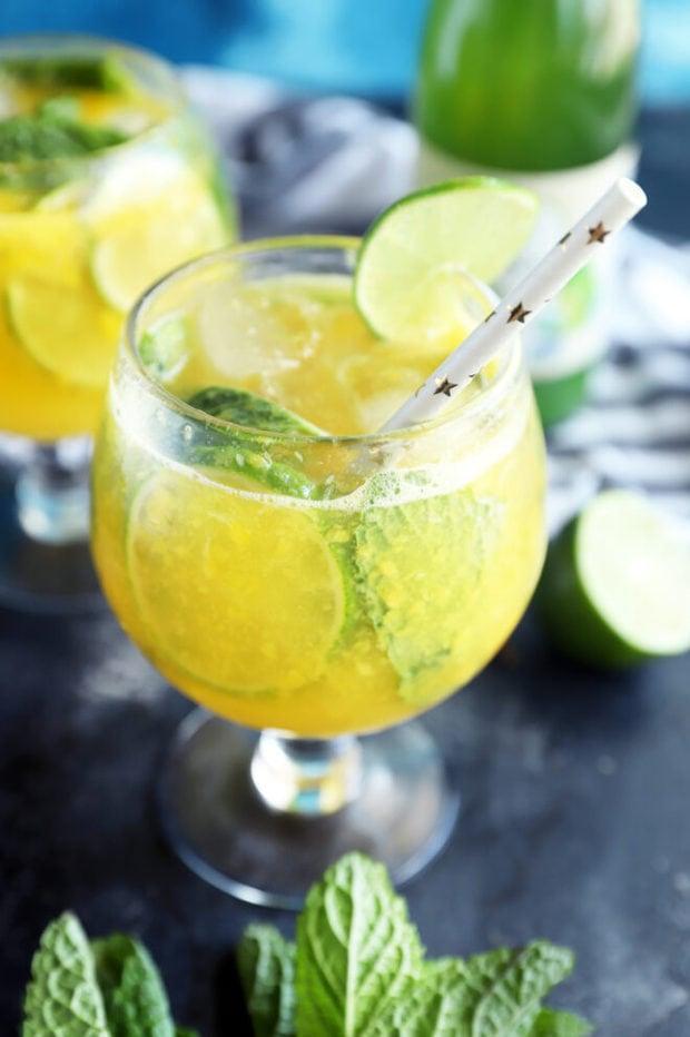 Side photo of mango mocktail recipe