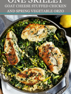 One Skillet Chicken and Orzo Pinterest Graphic