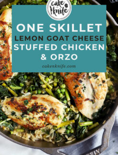 Pinterest image of One Skillet Lemon Goat Cheese Stuffed Chicken