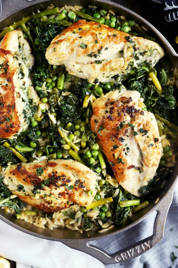 Chicken in a skillet with orzo photo