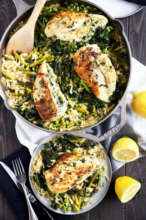 One skillet lemon goat cheese chicken image
