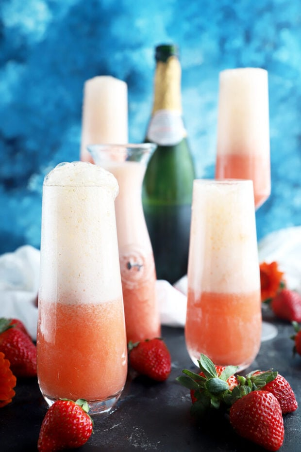 Strawberry mimosas in flutes picture