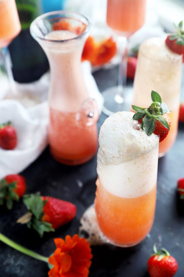 Strawberry mimosa with fresh strawberry photo
