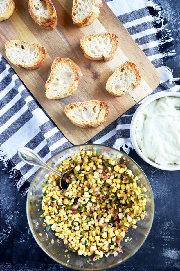 Ingredients for corn crostini overhead photo