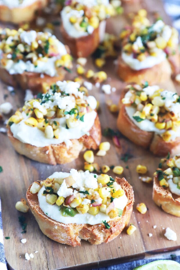 Mexican corn crostini photo