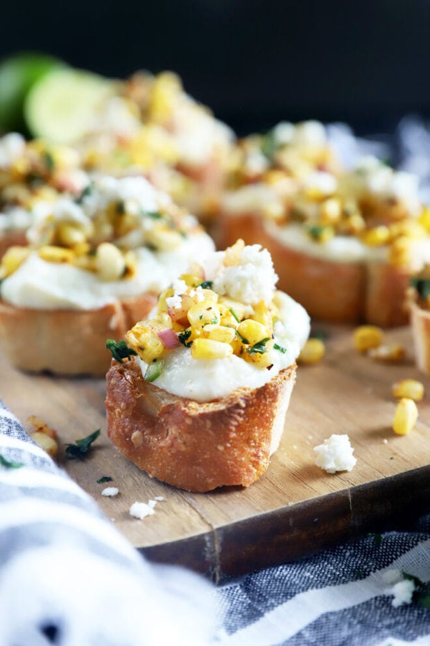 Side photo of grilled mexican corn crostini
