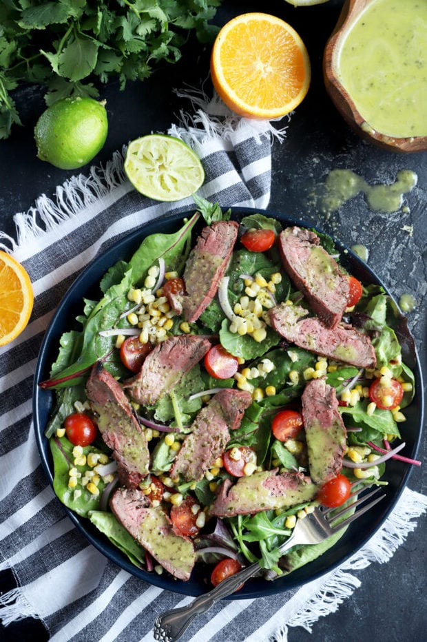 Photo of steak salad with corn and tomatoes